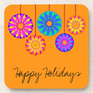 Happy Holidays Flower Decorations Drink Coaster