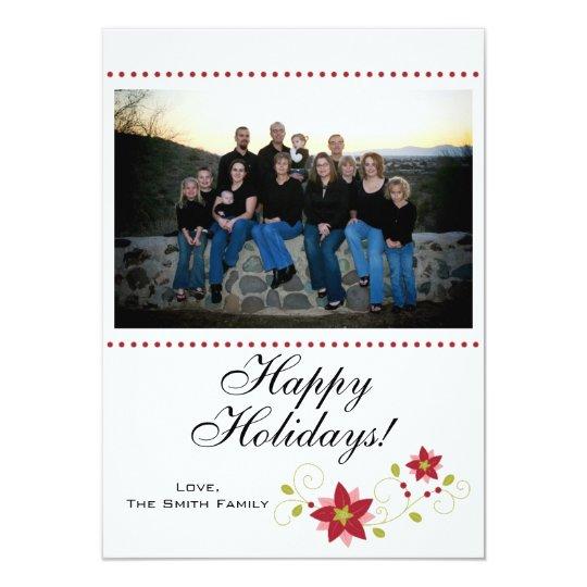 Happy Holidays Flower Photo Insert Card
