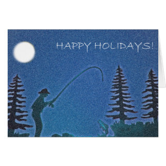 Happy Holidays! Fly Fisherman in Snow Card