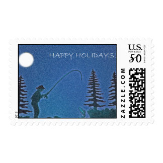 Happy Holidays! Fly Fisherman in Snow Postage