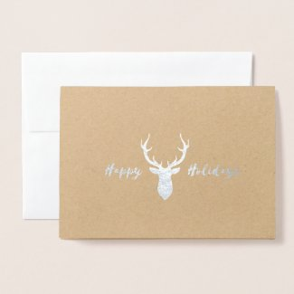 Happy Holidays Foil Deer Antlers Christmas Card