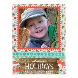 Happy Holidays Fox and Owl Fun Christmas Photo Postcard