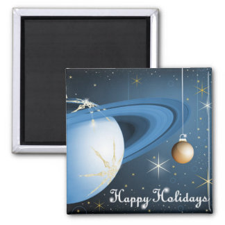 Happy Holidays From Cassini 2 Inch Square Magnet