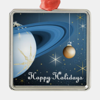 Happy Holidays From Cassini Square Metal Christmas Ornament