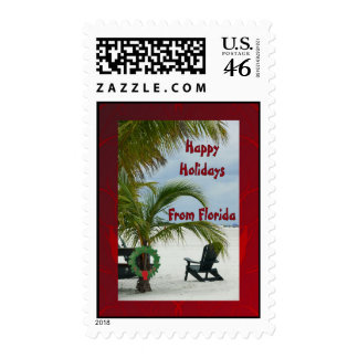 Happy Holidays From Florida, chair on beach Stamps