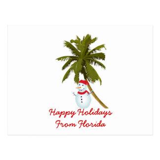 Happy Holidays from Florida, Snowman, palm tree Postcard