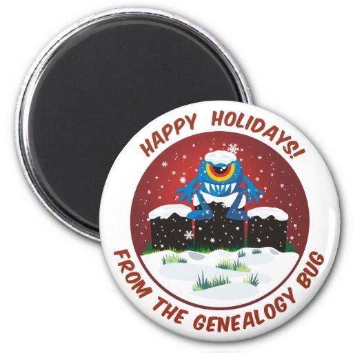 Happy Holidays From Genealogy Bug Fridge Magnets