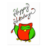 Happy Holidays from Happy Owl Postcard