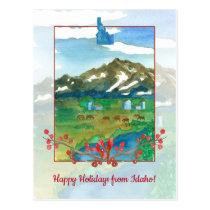 Happy Holidays from Idaho Ranch Cows Postcard