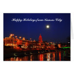 Happy Holidays from Kansas City Full Moon over Pla Greeting Card