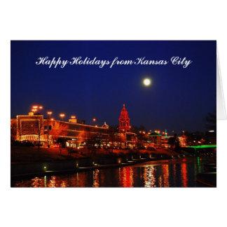 Happy Holidays from Kansas City Full Moon over Pla Card