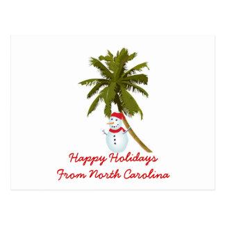 Happy Holidays from N. Carolina, Snowman palm Postcard