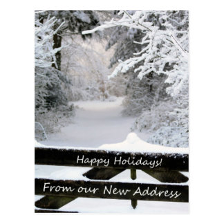 Happy Holidays from New Address - Fence in snow Postcard