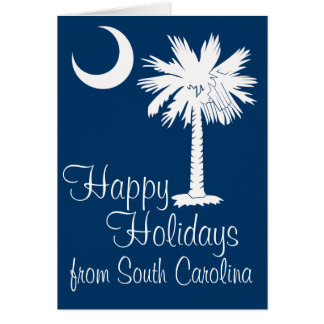 Happy Holidays from SC Blue Palmetto Moon Card