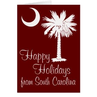 Happy Holidays from SC Garnet Palmetto Moon Card