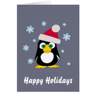 Happy Holidays from Snowy Penguin Card
