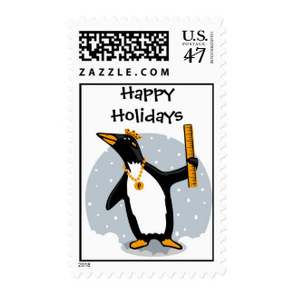 Happy Holidays from the Penguin Ruler Stamp