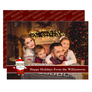 Happy Holidays Full Card Photo With Cute Santa