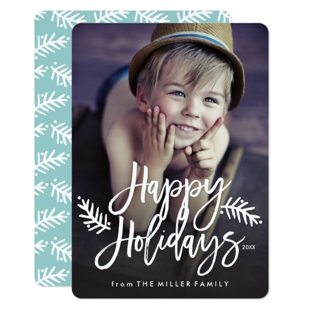 Happy Holidays Full Photo Chic Hand Lettered Card