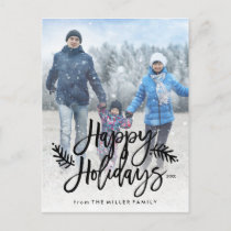 Happy Holidays Full Photo Chic Hand Lettered Holiday Postcard