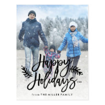 Happy Holidays Full Photo Chic Hand Lettered Postcard