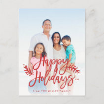 Happy Holidays Full Photo Chic Hand Lettered Red Holiday Postcard