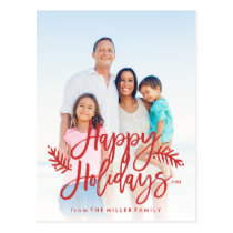Happy Holidays Full Photo Chic Hand Lettered Red Postcard