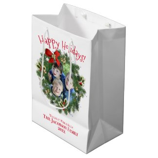 Happy Holidays Fun Christmas Wreath Photo Frame Medium Gift Bag