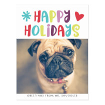 Happy Holidays Fun Typography | Photo Postcard