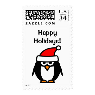 Happy Holidays Funny Christmas Penguin Bird Stamps at Zazzle