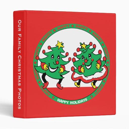 Happy Holidays Funny Dancing Christmas Trees Vinyl Binders