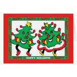 Happy Holidays Funny Dancing Christmas Trees Cards