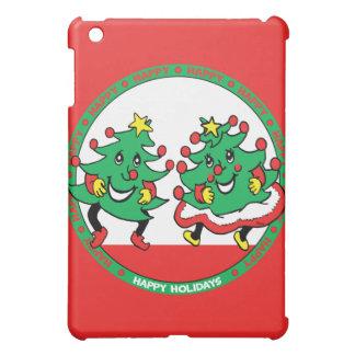 Happy Holidays Funny Dancing Christmas Trees iPad Mini Cases