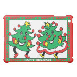 Happy Holidays Funny Dancing Christmas Trees iPad Mini Covers