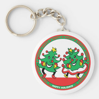Happy Holidays Funny Dancing Christmas Trees Basic Round Button Keychain