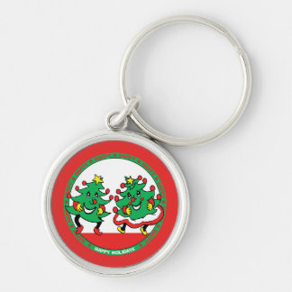 Happy Holidays Funny Dancing Christmas Trees Silver-Colored Round Keychain