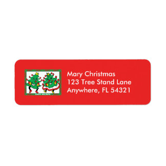 Happy Holidays Funny Dancing Christmas Trees Label