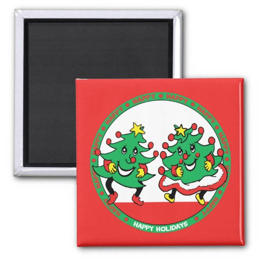 Happy Holidays Funny Dancing Christmas Trees Refrigerator Magnet
