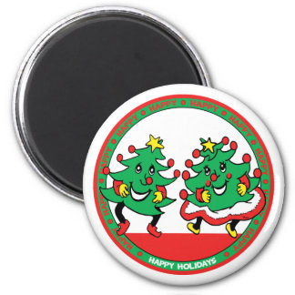 Happy Holidays Funny Dancing Christmas Trees Magnet