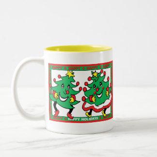 Happy Holidays Funny Dancing Christmas Trees Mug
