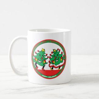 Happy Holidays Funny Dancing Christmas Trees Coffee Mug