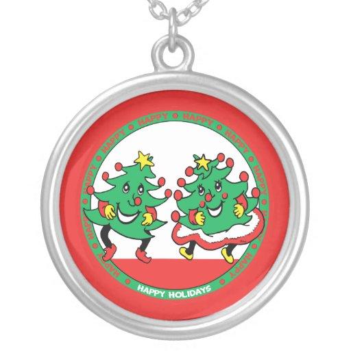 Happy Holidays Funny Dancing Christmas Trees Custom Jewelry