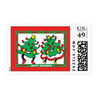 Happy Holidays Funny Dancing Christmas Trees Postage Stamps