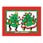 Happy Holidays Funny Dancing Christmas Trees Post Cards
