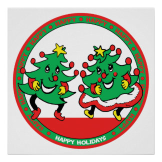 Happy Holidays Funny Dancing Christmas Trees Poster