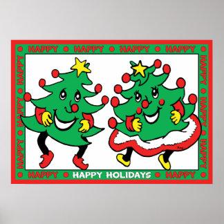 Happy Holidays Funny Dancing Christmas Trees Print