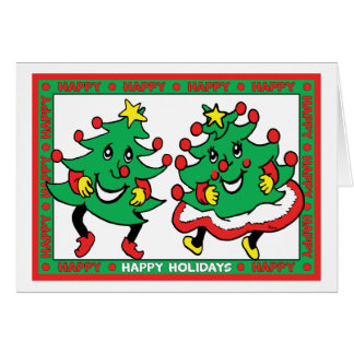 Happy Holidays Funny Dancing Christmas Trees Stationery Note Card