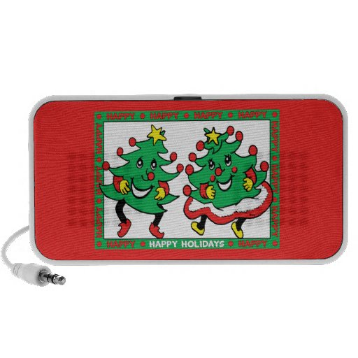 Happy Holidays Funny Dancing Christmas Trees Travel Speaker
