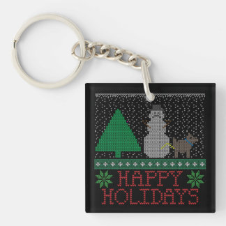 Happy Holidays Funny Dog Peeing Snowman Christmas Keychain