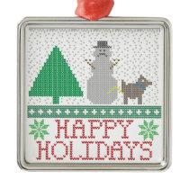 Happy Holidays Funny Dog Peeing Snowman Christmas Metal Ornament